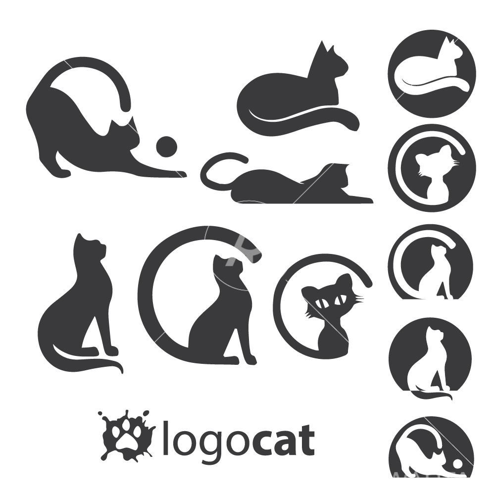 cat logo set design icon and symbols