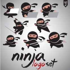 ninja logo set icon design