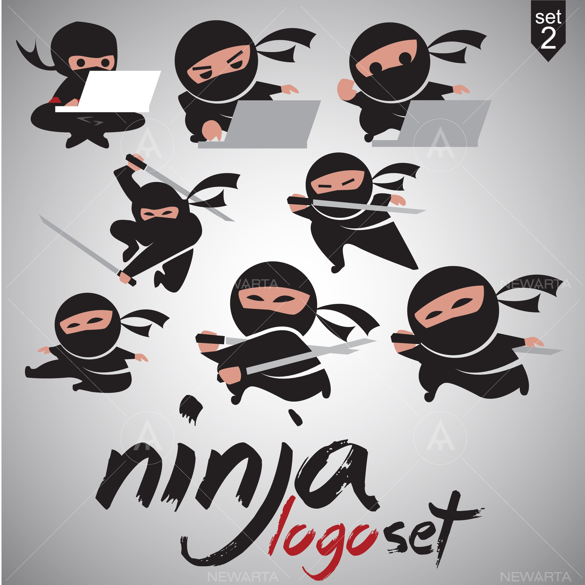 ninja logo icon design vector