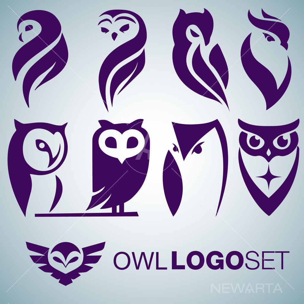 owl logo set icon mark symbol brand