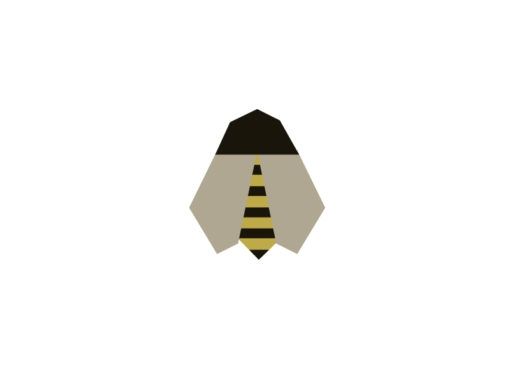 bee origami design logo icon vector
