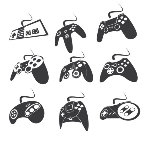 gaming controller set graphic design icon vector