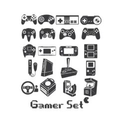 gamer controller pack gaming controller graphic design icon vector