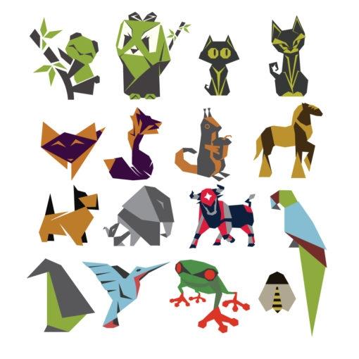 origami animal bird design graphic set logo icon