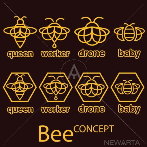 bee logo icon outline set