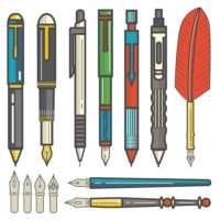 Mechanical pencils pens and nibs set vector-01