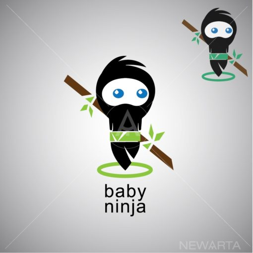 baby ninja logo icon vector