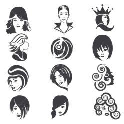 beautiful face logo icon set