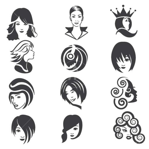 beautiful face logo icon set