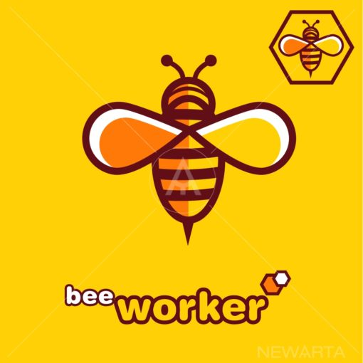 bee WORKER logo icon vector