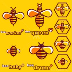 bee logo set