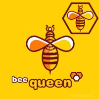 The lovely bee queen logo outline style.