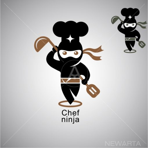 chef ninja logo icon vector