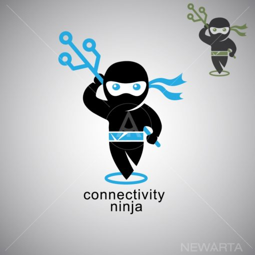 connectivity ninja logo icon vector
