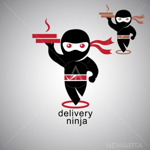 delivery ninja logo icon vector