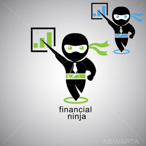 financial ninja logo icon vector