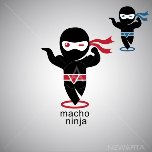 macho ninja logo icon vector