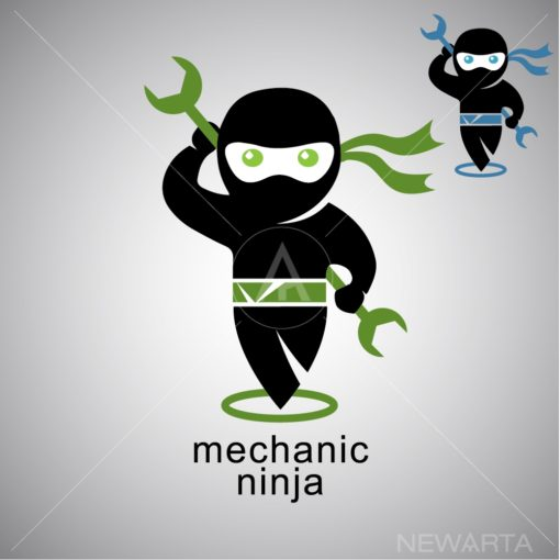 mechanic ninja logo icon vector