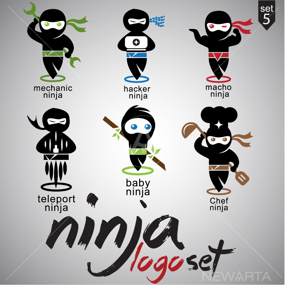 ninja logo design icon vector