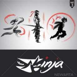 ninja logo set icon vector