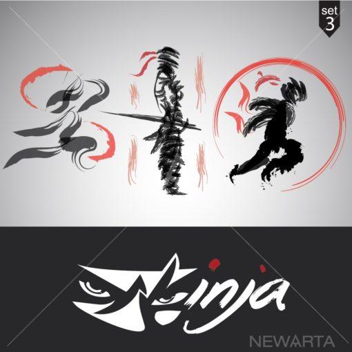 ninja logo set icon vector