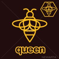 The lovely bee queen logo outline style