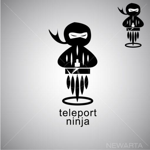 teleport ninja logo icon vector