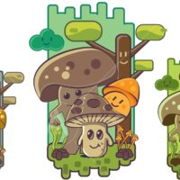 Mushroom Cartoon Illustration gaming style