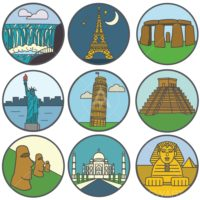 wonderful places icons set