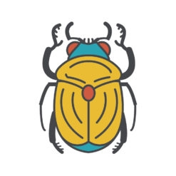 golden scarab logo graphic design icon vector