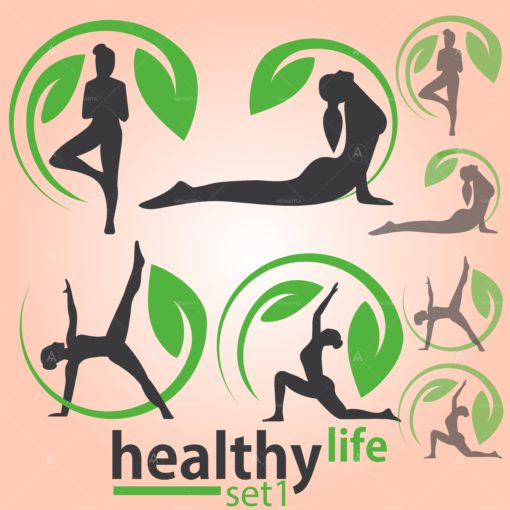 healthy life yoga logo set vector icon design
