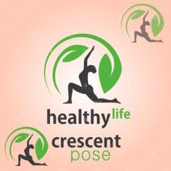 healthy life crescent pose vector design