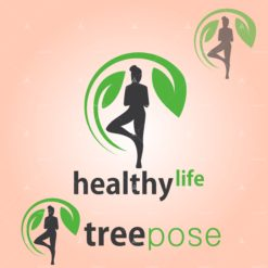 healthy life tree pose vector icon design