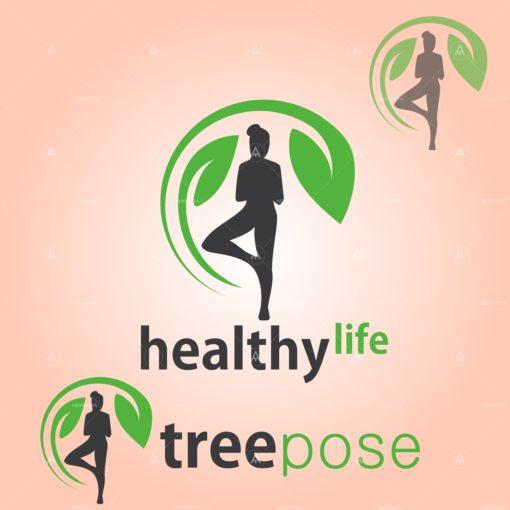 healthy life tree pose vector icon design