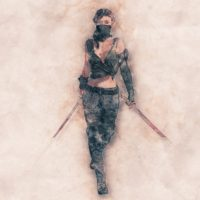 women ninja drawing arwork