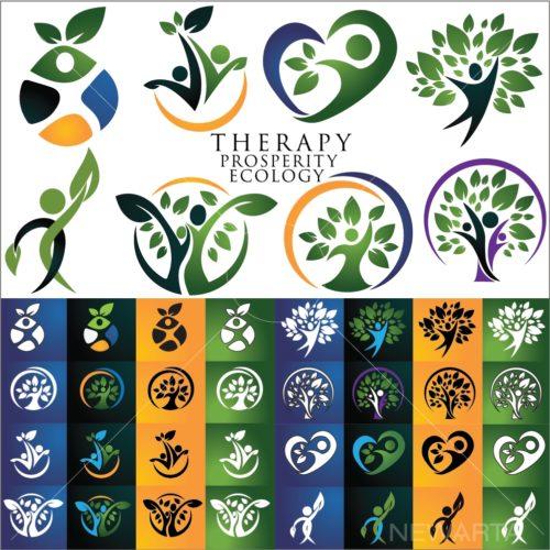 logo design ecology tree set