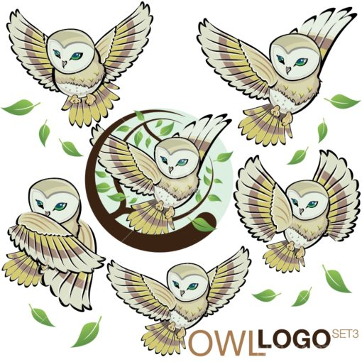 OWL LOGO graphic design icon vector set