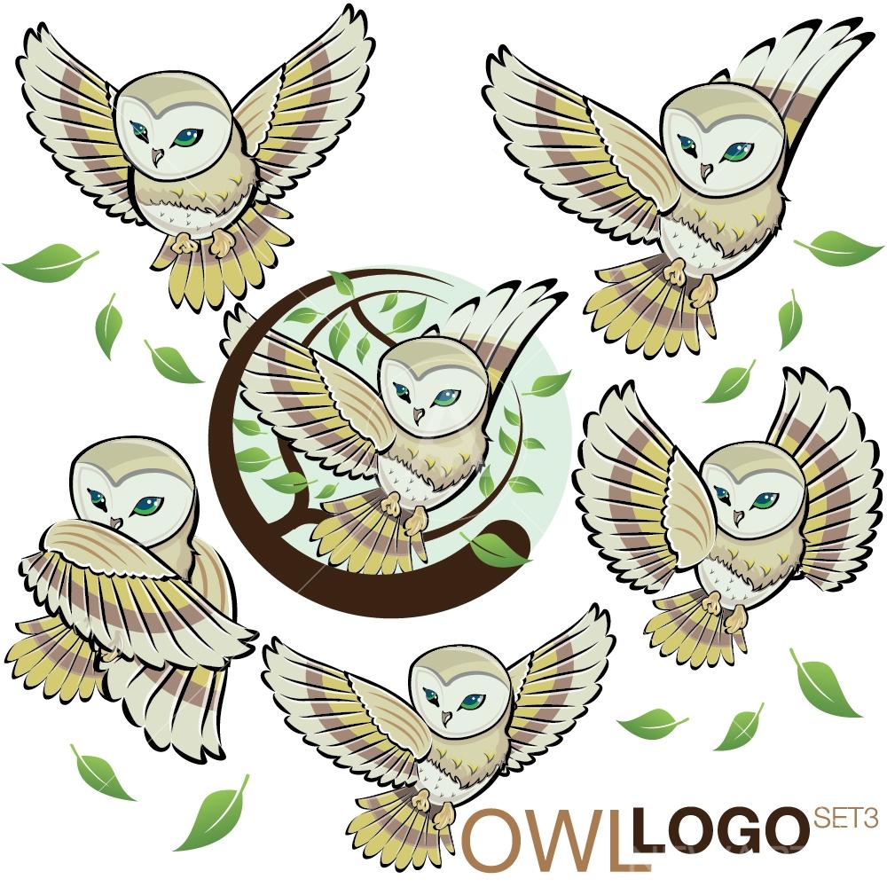 OWL LOGO graphic design icon vector set