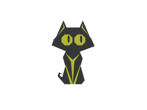 Baby cat origami design vector logo icon