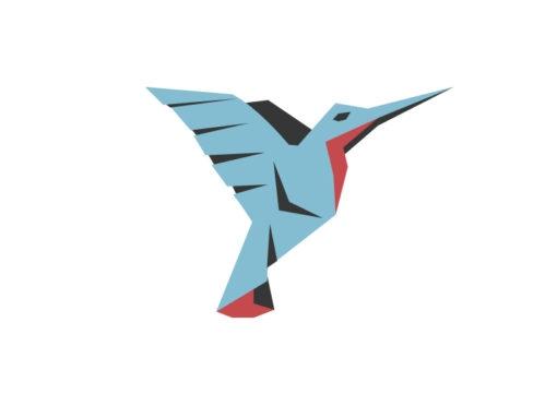 Hummingbird origami design logo icon vector colibri