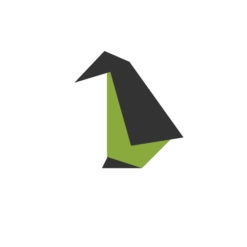 Penguin origami design logo icon vector