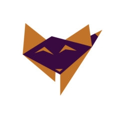 baby fox origami design logo icon vector