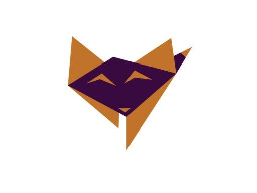 baby fox origami design logo icon vector