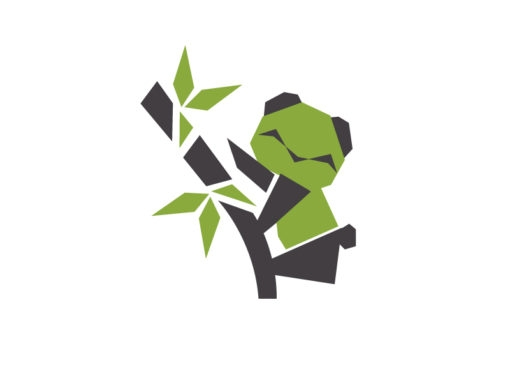 baby panda origami logo icon vector