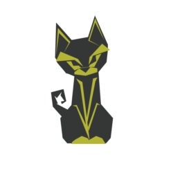 cat origami design logo icon vector