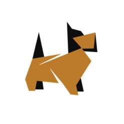 dog origami design logo icon vector