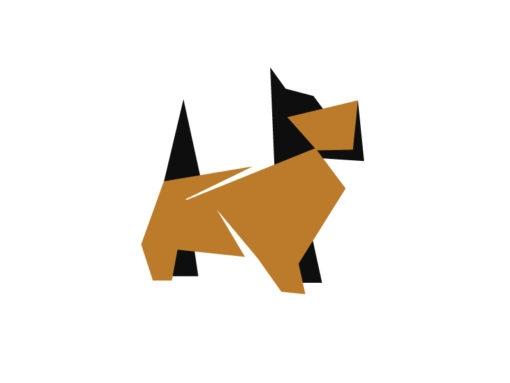 dog origami design logo icon vector