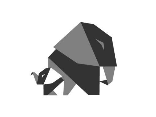 elephant origami design logo icon vector