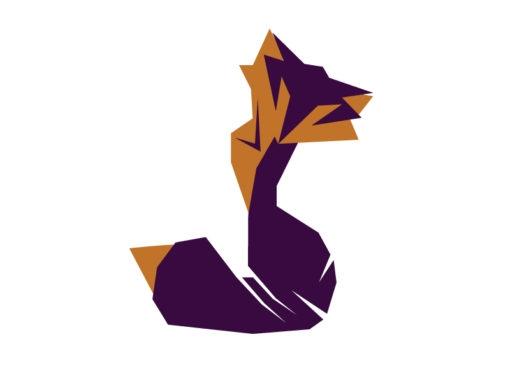fox origami design logo icon vector