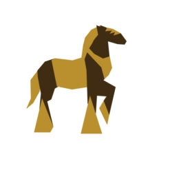 horse origami design logo icon vector